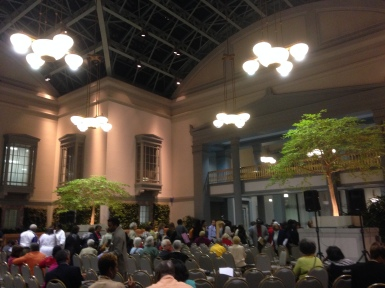 People lined up to get their books signed in the Winter Garden.
